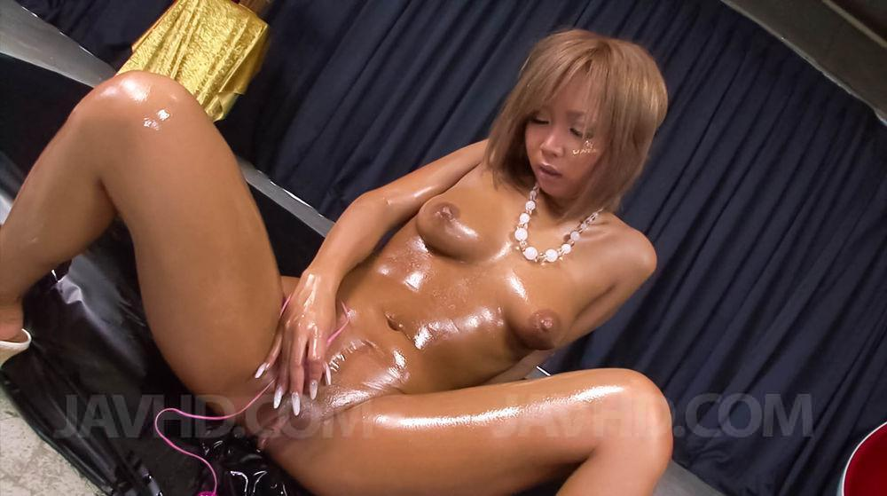 Asian naked pussy girl oiled